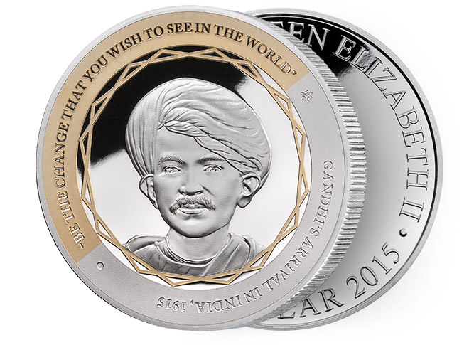 Gandhi Fine Silver Coin, Arrival in India, Be the Change You Wish to See in the World