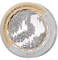 GANDHI FINE SILVER COIN 4 OF 5, THE QUIT INDIA MOVEMENT SILVER COIN