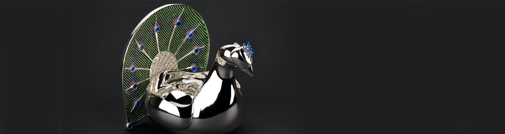 Silver Peacock with Gemstones
