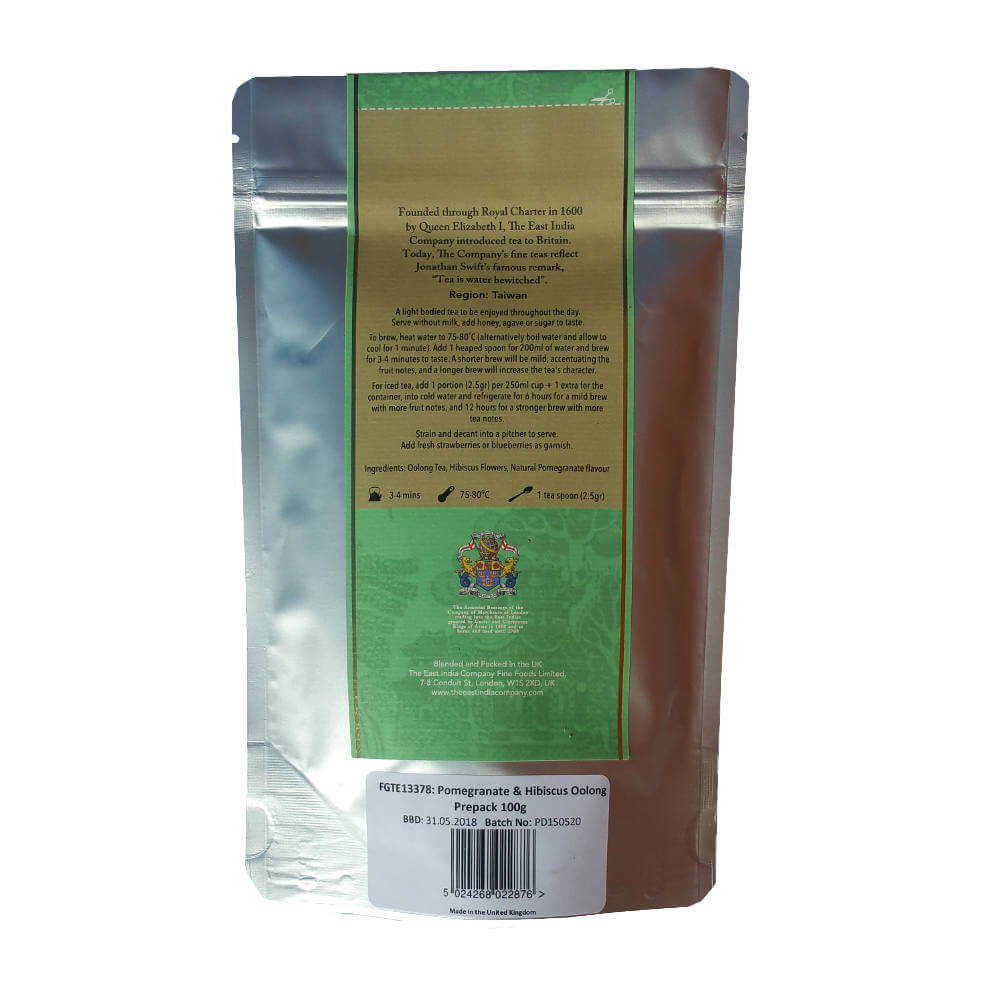Pomegranate and Hibiscus Oolong Tea Packaging Rear