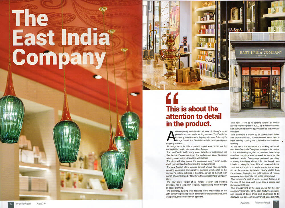 The East India Company was featured in Premier Retail Magazine in August 2016