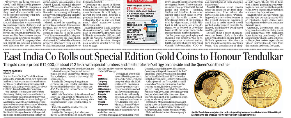 The East India Company was featured in The Times of India